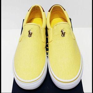 NIB POLO RALPH LAUREN Men's Canary Yellow Slip-On